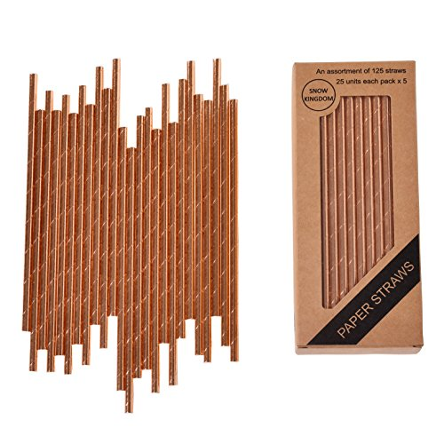 125 PCS Rose Gold Paper Straws Metallic Drinking Decorative Eco friendly - Boxed 5 Individual Pack of 25 Units Each