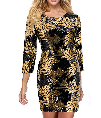 (Zshujun Women's 1920s Glitter Sequin Mini Party Dress Club Bodycon Gowns 2467 (Black Gold,)