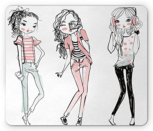 Price comparison product image Girls Mouse Pad by Ambesonne, Sketch Cute Cartoon Design Girls with Makeup Clothes Illustration Image, Standard Size Rectangle Non-Slip Rubber Mousepad, Black Pale Pink White