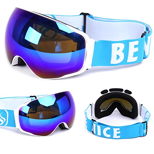 BENICE Snowboard Skate Ski Goggles with Wide Angle Double Lens Anti-fog UV400 Big Spherical Professional Snow goggles Unisex Six colors