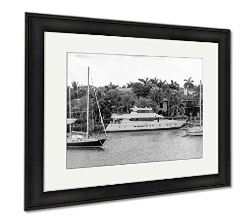 Ashley Framed Prints Fort Lauderdale Canals In Las Olas Boulevard Florida USA, Office/Home/Kitchen Decor, Black/White, 30x35 (frame size), Black Frame, - Las Florida Boulevard Olas