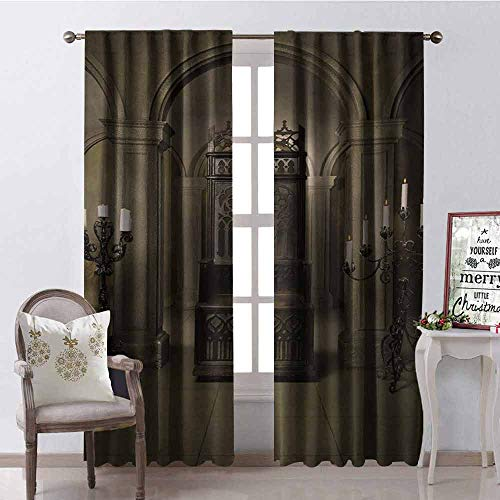 Gloria Johnson Gothic Heat Insulation Curtain Royal Throne in Medieval Castle Renaissance Kingdom Heritage Retro Antique Photo for Living Room or Bedroom W42 x L84 Inch Beige Brown ()