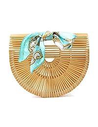 Womens Top Handle Bamboo Bag Handmade Handbags Tote Beach Bag