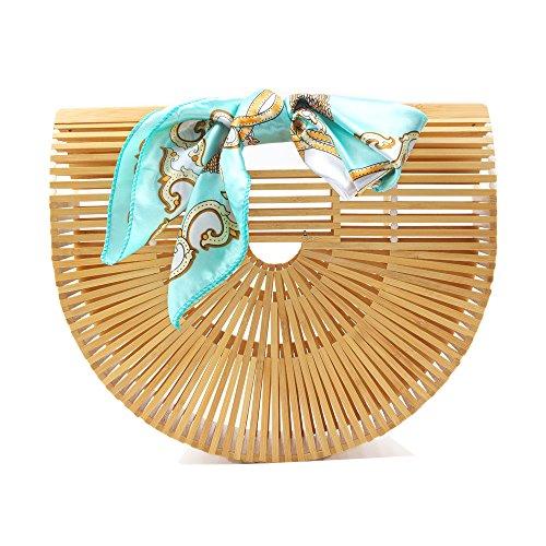 DSAKGTE Womens Top Handle Bamboo Bag Handmade Handbags Tote Beach Bag (Large)