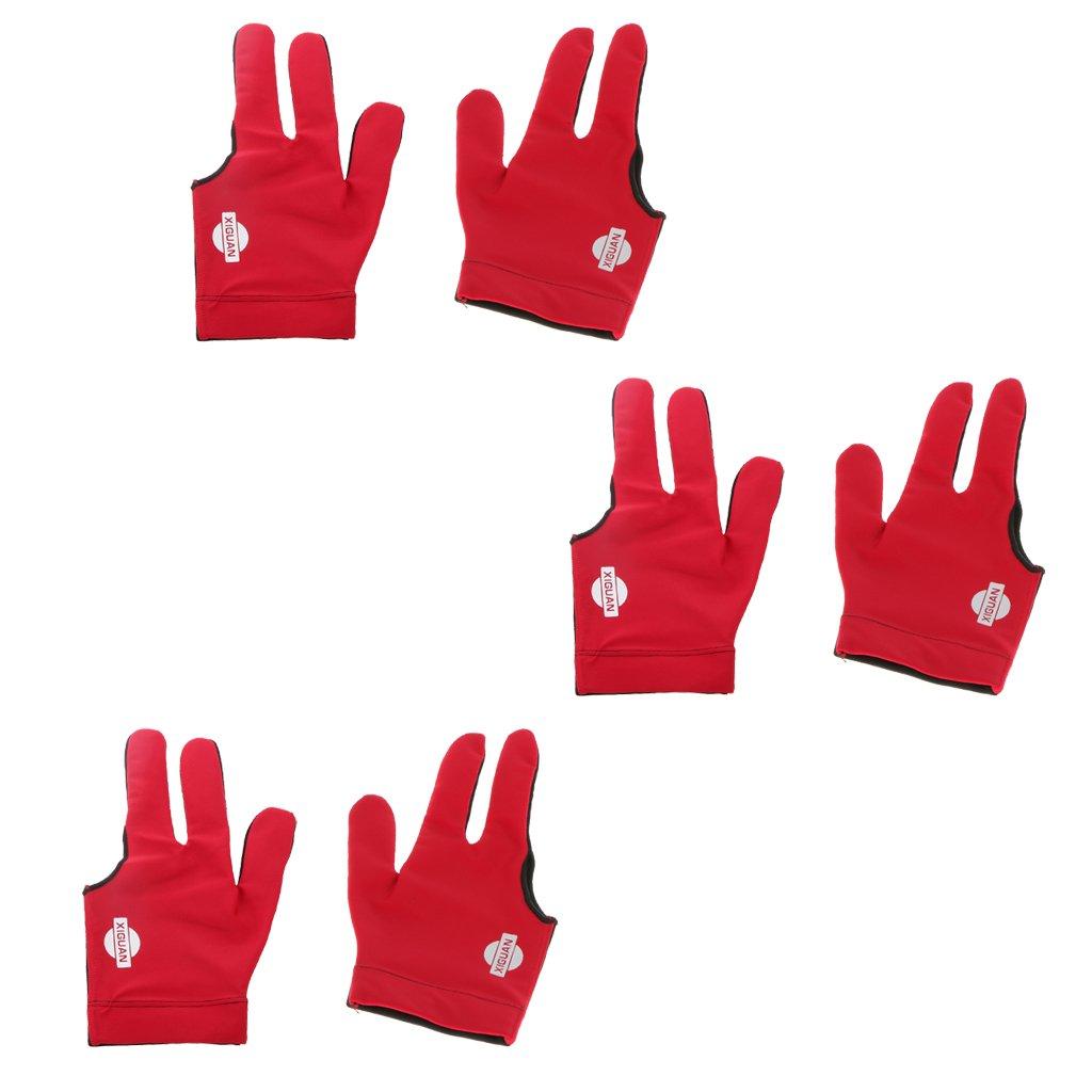 MagiDeal Juego de 3 Pares de Guantes de Billar 3 Dedos Protección para Manos Izquierda Derecha Rojo