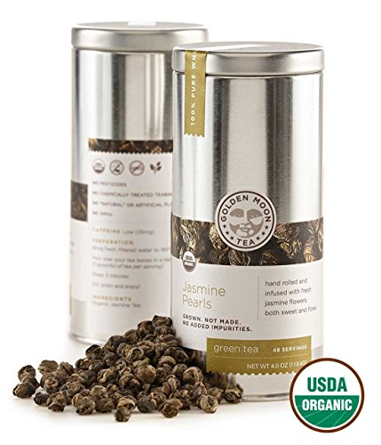 - Golden Moon Tea - Jasmine Pearls Tea - Organic - Loose Leaf - Non GMO - 4oz Tin - 48 Servings