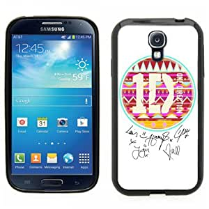Samsung Galaxy S4 SIIII Black Rubber Silicone Case - One Direction 1D Aztec Logo and Autograph signatures of band