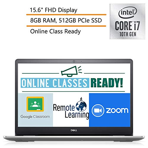 """2020 Dell Inspiron 15 5000 15.6"""" FHD Laptop Computer, 10th Gen Intel Core i7-1065G7, 8GB DDR4 RAM, 512GB PCIe SSD, Bluetooth 4.1, Silver, Windows 10, iPuzzle Mouse Pad, Online Class Ready, Webcam"""