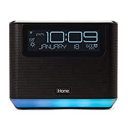 iHome iAVS16 Bedside Speaker with Alexa Built In, Bluetooth, and USB Charging, Now Supports Spotify by Voice