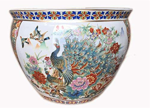 Oriental Furnishings Japanese Satsuma Peacock Vase 18 W x 15 H Base 11.5