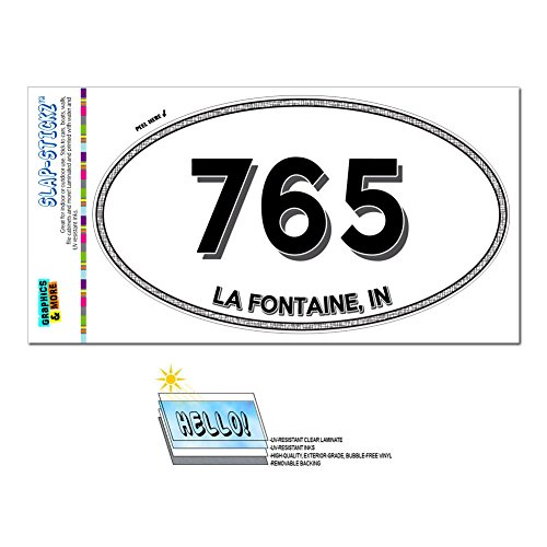 Fontaine Fountain (Graphics and More Area Code Oval Window Laminated Sticker 765 Indiana IN Fountain City - Modoc - La Fontaine)