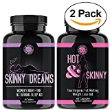 Angry Supplements Hot & Skinny Thermogenic + Skinny Dreams Sleep Aid Women's Weight Loss Combo (2-Pack Bundle), Day and Night-time Diet Pills, Fast Fat Burning, Non-GMO, Starter Kit (2-Pack,120ct)