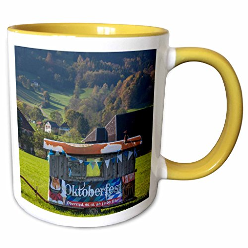 3dRose Danita Delimont - Black Forest - Germany, Oberried, valley view with Oktoberfest beer wagon - 11oz Two-Tone Yellow Mug (Oktoberfest Beer Wagon)