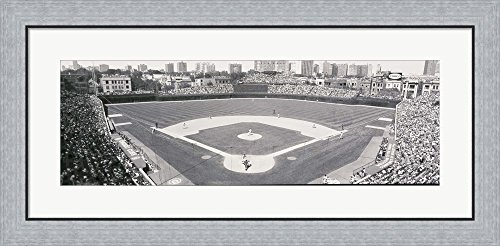 Wrigley Field in black and white, USA, Illinois, Chicago by Panoramic Images Framed Art Print Wall Picture, Flat Silver Frame, 35 x 17 inches