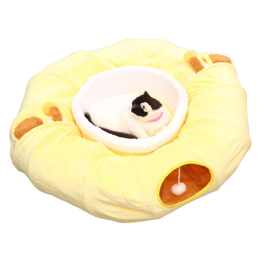 LGW Cat Dog Tunnel Bed,Tunnel Funny,Detachable Folding Tunnel Sofa,Cat Play Tube,Soft and Comfortable(Yellow) by LGW