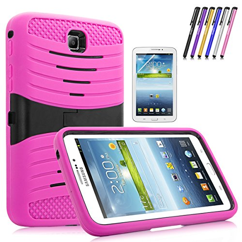 Windrew Heavy Duty rugged impact Hybrid Protective Case Stand For Samsung Galaxy Tab 3 7.0 SM-T210 /P3200 7.0 Inch Android Tablet + free stylus pen and Screen protector Film (Pink)