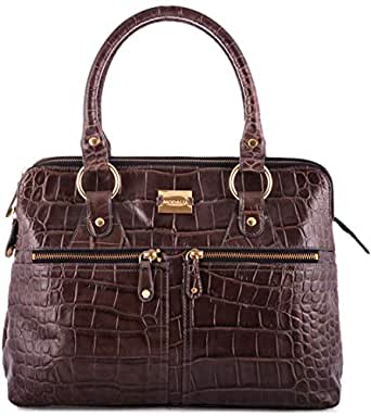 Modalu HandBag for Women - Leather, Dark Brown