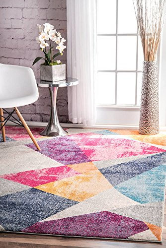 nuLOOM RZBD44A Multi Abstract Mosaic Anya Area Rug, 5' x 7.5', Multicolor