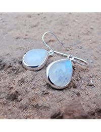 High Quality Rainbow Moonstone Earrings, Tear Drop Earrings, Blue Moonstone Silver Earrings, 10x12 MM Pear Moon Stone Earrings, Sterling Silver Gift Jewerly