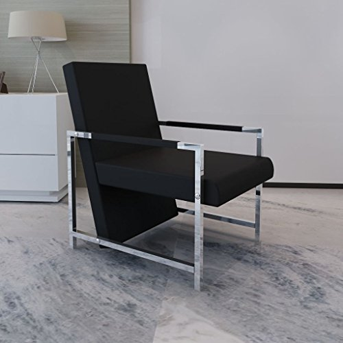 al Leather Cube Relax Armchair Black with Chrome Feet Lounge Reclining Sleeper Couch ()