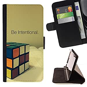 For Sony Xperia M2 Be Intentional Rubicks Cube Beautiful Print Wallet Leather Case Cover With Credit Card Slots And Stand Function