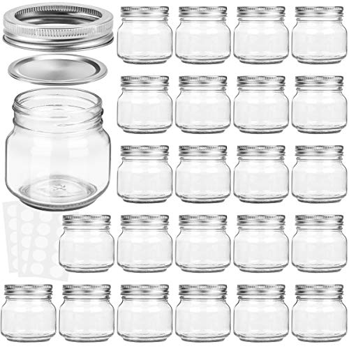 KAMOTA Mason Jars 8OZ With Regular Silver Lids and Bands, Ideal for Jam, Honey, Wedding Favors, Shower Favors, Baby Foods, DIY Magnetic Spice Jars, 24 PACK, 30 Whiteboard Labels Included -
