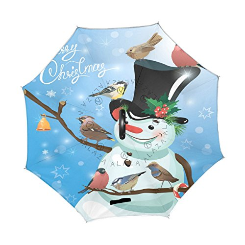 92bd3111d76c ALAZA Hipster Snowman Bird Christmas Inverted Umbrella, Large Double ...