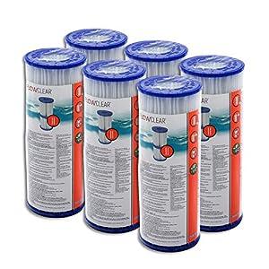 6 piezas Bestway – Cartuchos de filtro para bombas de piscina Intex Bestway tamaño 2 –