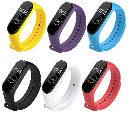 DingTool Compatible with Xiaomi Mi Band 4 Bands, Replacement Band Wristband Strap Accessories for Miband 4 Smart Watch (Color3-6pcs)
