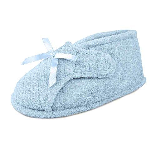 MUK LUKS Micro Chenille Adj Boot Womens Slipper Blue 9miT1tK