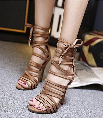 MZG Weibliche Sandalen die mit Stiletto und Fersen und Stiletto hinteren Zipper ... d9aa6b
