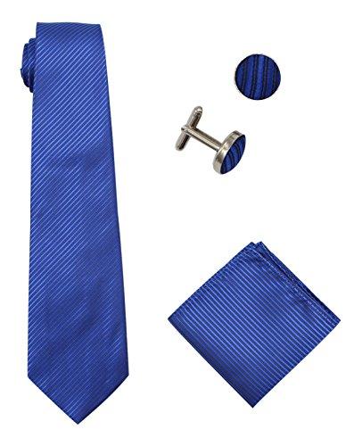 Bioterti Men's 3-Piece Necktie Set:Solid Color Stripes Necktie, Pocket Square & Cufflinks (Royal (Multi Stripe Cufflinks)