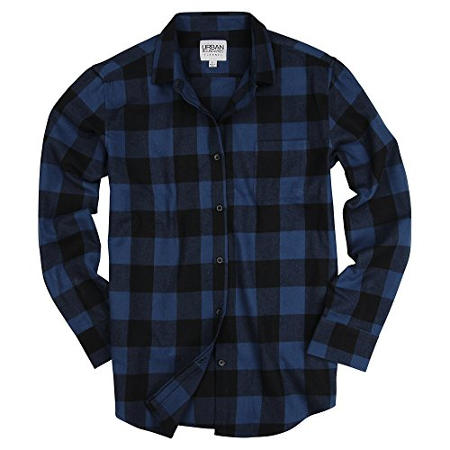 Urban Boundaries Womens Buffalo Plaid Long Sleeve Flannel Shirt w/Point Collar (Navy/Black, Medium) -