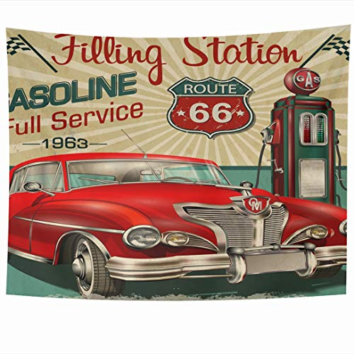 (Ahawoso Tapestry 60 x 50 Inches Automotive Gas Filling Station Retro Route America Vintage Car Classic American Design 66 Wall Hanging Home Decor Tapestries for Living Room Bedroom Dorm)