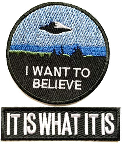 Super Set Patch of Iron on Space Patches#24, I Want to Believe Movie X- Files Patch, It is What it is Patch Embroidered Iron On/Sew On Patch by BossBee ()