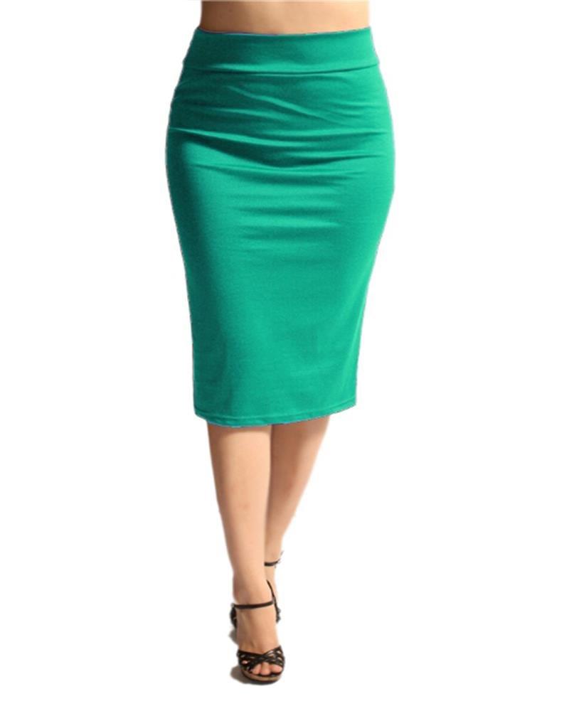 NYL Basics Women's Everyday Basic Below The Knee Printed Pencil Skirt