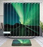 Unique Custom Bathroom 2-Piece Set Northern Lights Wooden Bridge Solar Sky Scenic Radiant Rays Arctic Magic Scenery Fern Green Dark Blue Shower Curtains And Bath Mats Set, 60''Wx72''H & 23''Wx16''H