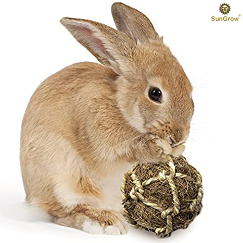 Coconut Fiber Ball for Rabbit by SunGrow - Improves Dental Health - 100% Natural Chew Toy- Provides Hours of Stimulation - Environment Friendly, Stress reliever - Ideal for Bunnny, Chinchilla & - Bunny Rabbit Toy
