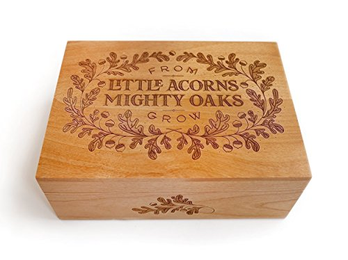 Little Acorns Laser Cut Wood Keepsake Box (Baby Shower Gift / Memory Box / Heirloom / Decorative / Handmade) by Cardtorial