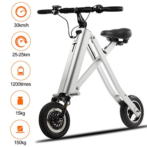 BuySevenSide Urban E-Bike And Folding Electric Scooter The Newest Foldable Bicycle Model With 15-18 MPH Max Speed 25-30 Miles Range and Upgraded Brake System (sliver)