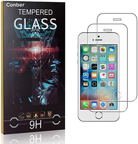 Conber [2 Stück] Displayschutzfolie kompatibel mit iPhone 5C, Panzerglas Schutzfolie für iPhone 5C [9H Härte][Hüllenfreundlich]