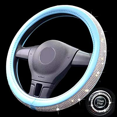 Crystal Steering Wheel Cover For Girls.Universal 15inch Rhinestones Bling Leather SUV Car Wheel Protector A (blue steering wheel cover): Automotive