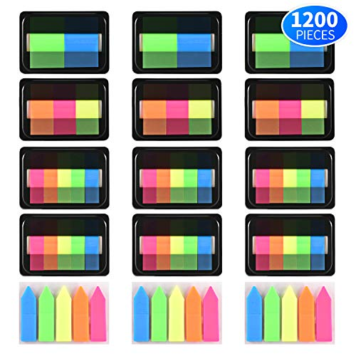 Kotl 1200 Pieces Page Markers Neon Colored Pop-up Index Tabs Neon Flag Sticky Notes, 15 Sets 4 Sizes ()