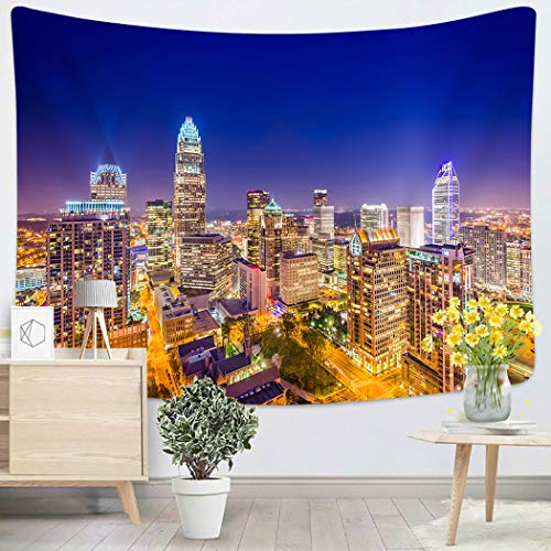 Sgvsdg Tapestry Charlotte North Carolina USA Uptown Skyline Home Decoration Wall 50X60 Inches Can Be Hung in The Dormitory Living Room Bedroom (Furniture Nc Outdoor Charlotte)