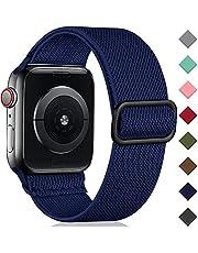 Oielai Solo Loop Bandjie Compatibel met Apple Watch 38mm 40mm 42mm 44mm SE, Verstelbare Stretch Nylon Sport Vervangende Band voor iWatch Series 6/5/4/3/2/1, 42mm/44mm, Blauw