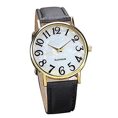 Retro Womens Watches COOKI Clearance Quartz Female watches on Sale Comfortable Leather Lady Watches-H66 (Black)