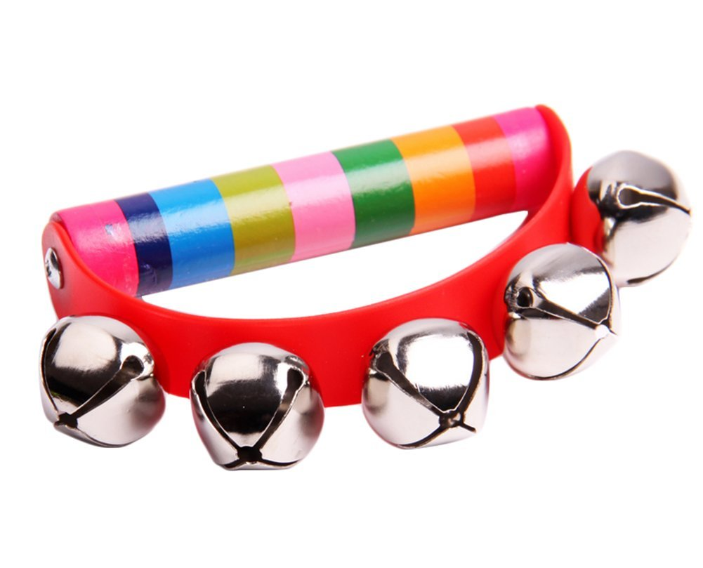 Weimay Rainbow Wooden Jingle Bell Ring Handbell Rattle Musical Instrument For Baby Children Kids 1Pcs (Random color)