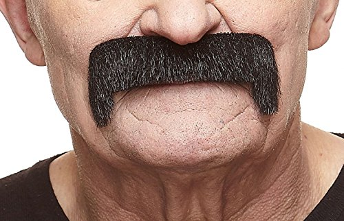 Mustaches Self Adhesive Fake Mustache, Novelty, Wide Latin False Facial Hair, Costume Accessory for Adults, Black Lustrous -