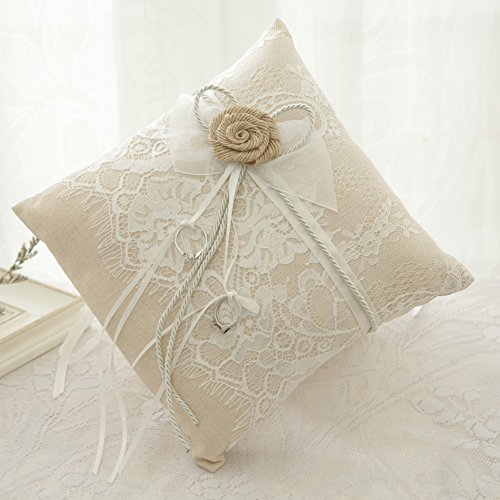 WoodBury Wedding Ring Bearer Pillow Lace Floral Ivory Brown(8 Inch x 8 Inch) by Wood Bury (Image #2)