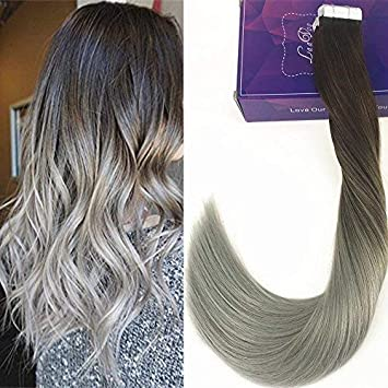 Laavoo 14 Balayage Ombre Hair Extensions Straight Tape In Dark Brown Fade To Silver Gray Seamless Skin Weft Hair Extension 50g 20 Pieces